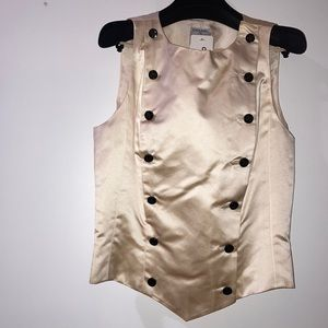 Shiny Satin Finish Cream Tuxedo Vest